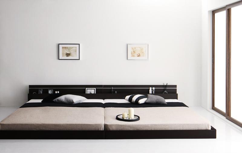ベッド ベット 安い キング キングサイズ キングベッド キングベット ライト コンセント付き ( 日本製 ボンネル マットレス付き ) ワイド280 ダークブラウン
