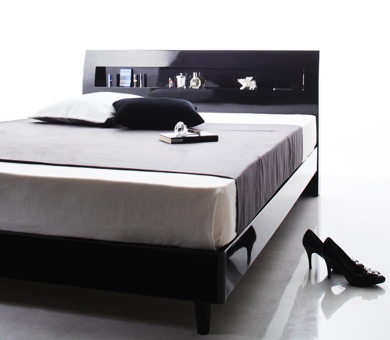 ベッド 安い シングル シングルベッド シングルサイズ 棚 コンセント すのこベッド ( ポケット / レギュラー ) アーバンブラック 黒 マットレス付き アイボリー