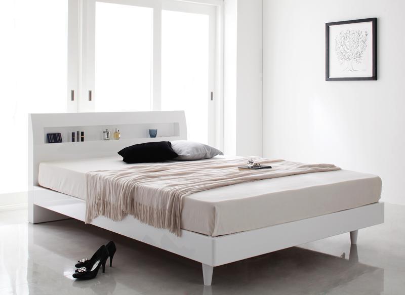 ベッド ベット 安い シングル シングルベッド シングルベット シングルサイズ 棚 コンセント付き すのこベッド ( ポケット マットレス付き / ハード ) ノーブルホワイト 白