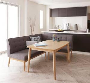 ダイニングテーブルセット 4人用 コーナーソファー L字 l型 ファミレス風 ベンチ 椅子 おしゃれ 安い 北欧 食卓 カウチ 3点 ( 机+ソファ1+右肘ソファ1 ) 幅120 デザイナーズ クール スタイリッシュ ミッドセンチュリー 高さ65 ロータイプ 低め