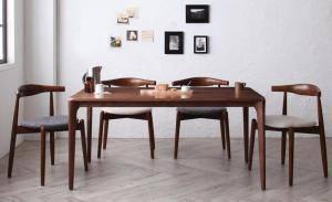ダイニングテーブルセット 4人用 椅子 おしゃれ 安い 北欧 食卓 5点 ( 机+スタッキングチェア4脚 ) 幅150 デザイナーズ クール スタイリッシュ ミッドセンチュリー ウォールナット 無垢