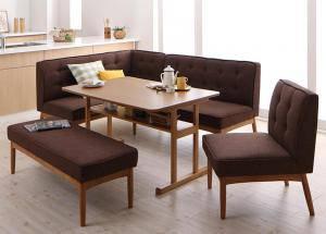 ダイニングテーブルセット 7人用 コーナーソファー L字 l型 ベンチ 椅子 おしゃれ 安い 北欧 食卓 カウチ 5点 ( 机+ソファ1+左肘ソファ1+チェア1+長椅子1 ) 幅120 デザイナーズ クール スタイリッシュ 2本脚 和モダン 高さ65 ロータイプ 低め オーク 棚 大きい