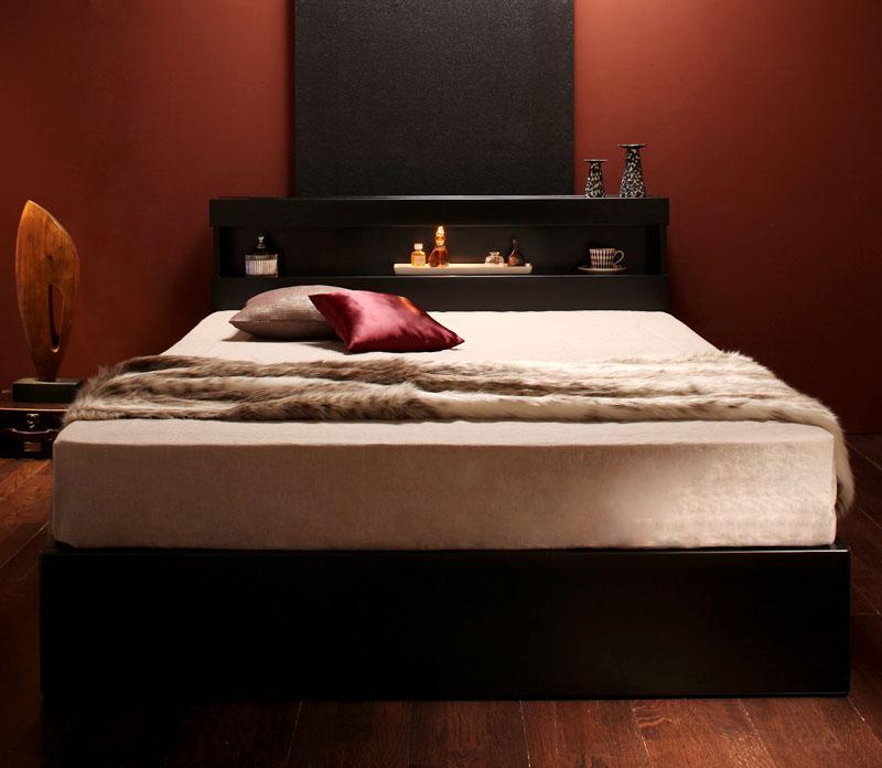 ベッド ベット 安い シングル シングルベッド シングルベット シングルサイズ ライト コンセント付き 収納付き ( マルチラスSS マットレス付き ) ブラック 黒