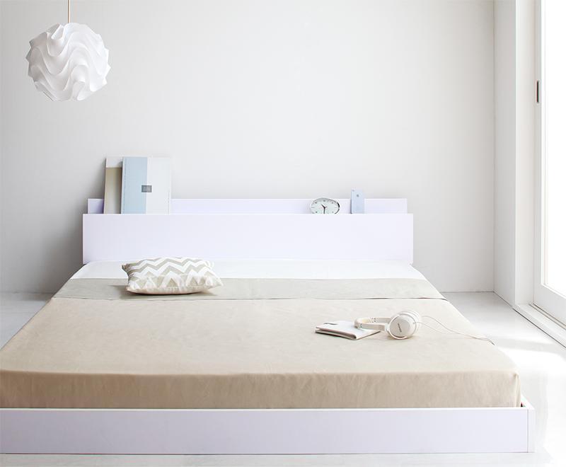 ベッド ベット 安い シングル シングルベッド シングルベット シングルサイズ 棚 コンセント付き ( マルチラス マットレス付き 付き ) ホワイト 白
