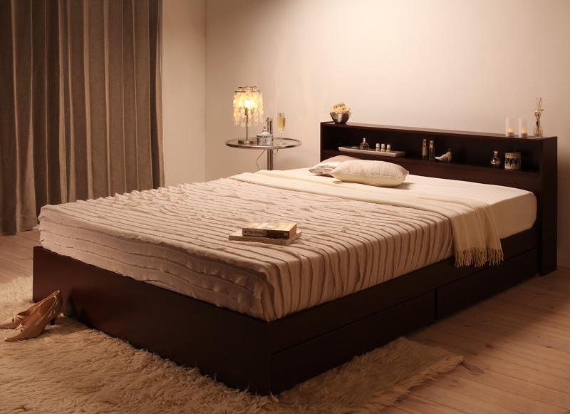 ベッド ベット 安い セミダブル セミダブルベッド セミダブルベット セミダブルサイズ 棚 コンセント付き 収納付き ( マルチラスSS マットレス付き ) ダークブラウン