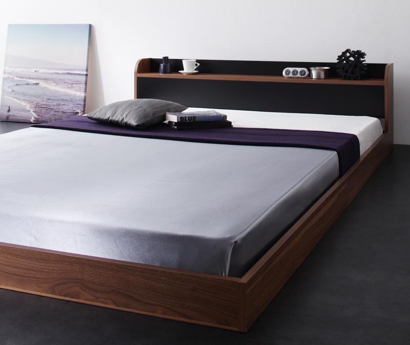 ベッド ベット 安い ダブル ダブルベッド ダブルベット ダブルサイズ 棚 コンセント付き ( 日本製 ポケット マットレス付き 付き ) ウォルナット×ブラック 黒