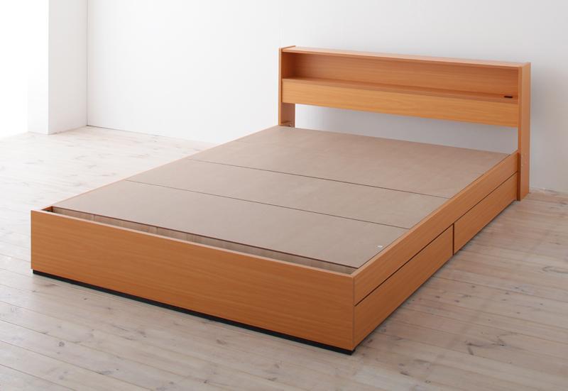 ベッド ベット 安い ダブル ダブルベッド ダブルベット ダブルサイズ 棚 コンセント付き 収納付き ( フレームのみ ) ナチュラル