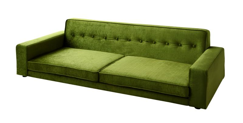 ソファー ソファ 3人掛け 三人掛け おしゃれ 布 ファブリック 北欧 カフェ リビング 座椅子 ローソファ  ( 3P Mグリーン 緑 )
