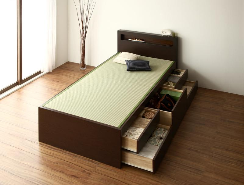 ベッド 安い セミダブル セミダブルベッド セミダブルサイズ 畳ベッド コンセント付き 収納付き フレームのみ  畳ベッド 日本製 畳 ブラウン