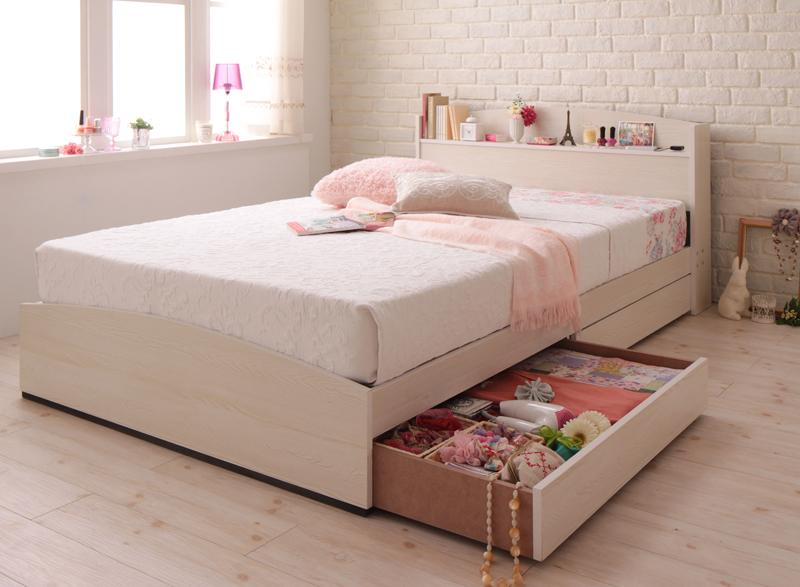 ベッド 安い セミダブル セミダブルベッド セミダブルサイズ コンセント付き 収納付き ( ボンネル / レギュラー ) ホワイト 白 マットレス付き アイボリー