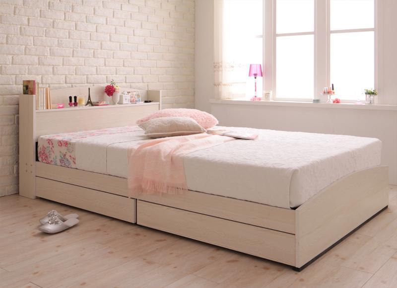 ベッド 安い シングル シングルベッド シングルサイズ コンセント付き 収納付き ( ポケット / レギュラー ) ホワイト 白 マットレス付き ブラック 黒