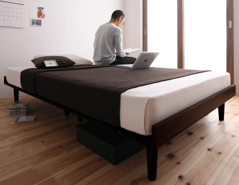 ベッド 安い セミダブル セミダブルベッド セミダブルサイズ ( ポケット マットレス付き / ハード フル ) ライトブラウン