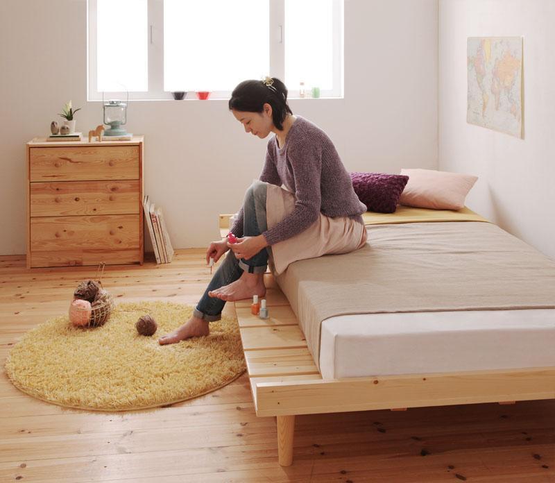 ベッド 安い シングル シングルベッド シングルサイズ ( ボンネル マットレス付き / ハード シングル ステージ ) フレーム セミダブル ナチュラル
