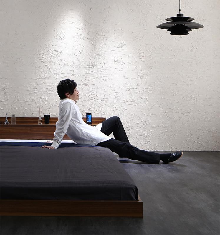 ベッド ベット 安い ダブル ダブルベッド ダブルベット ダブルサイズ 棚 コンセント付き ( 日本製 ポケット マットレス付き ) ブラック 黒