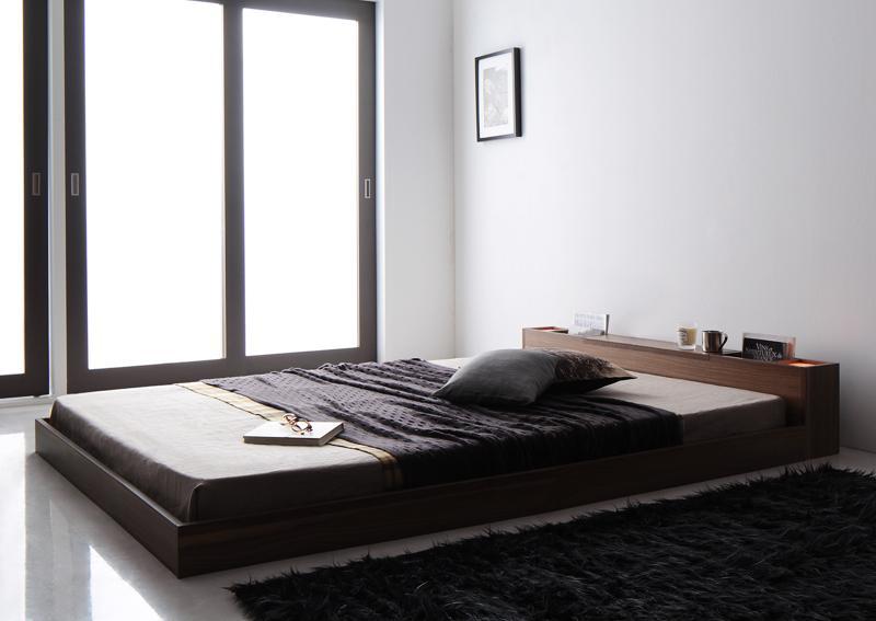 ベッド 安い セミダブル セミダブルベッド セミダブルサイズ ライト 収納付き ( ポケット マットレス付き / ハード ) ウォルナット ブラウン