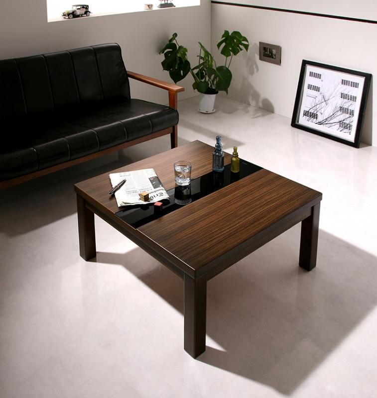 こたつ センターテーブル ローテーブル 座卓 正方形 (75×75) 【 ブラック 黒 】【木製 リビングテーブル 応接テーブル ちゃぶ台 コーヒーテーブル ダイニングテーブル 座卓 ディスプレイ 棚 引き出し ガラス 送料無料】