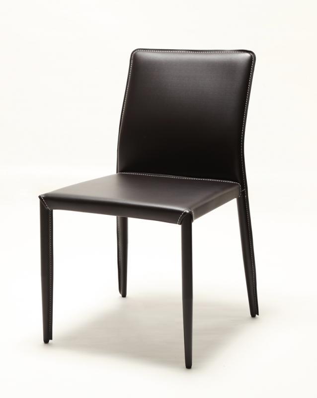 ダイニングチェア イタリア レザー ガラス レザーチェア (2セット) 【 ウェンジブラウン 茶色 】【椅子 チェア イス いす オフィスチェア ハイバック カフェ 肘掛 肘あり 肘付き 肘置き 脚 おしゃれ かわいい 背もたれ 木製 送料無料】