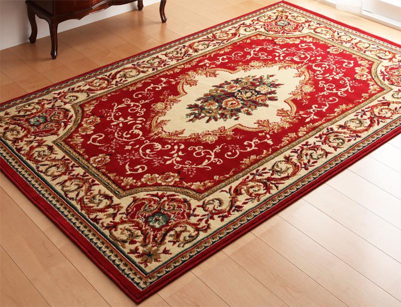 ラグ カーペット おしゃれ ラグマット 絨毯 ペルシャ 安い マット ベルギー エジプト 200×250 3畳 レッド 赤 防音 厚手 極厚 子供 モダン ふかふか