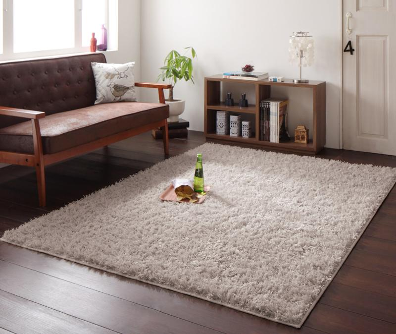 ラグ カーペット じゅうたん ラグマット 絨毯 安い ふわふわ 厚手 ふかふか もこもこ シャギーラグ マット 261×261 4.5畳 5畳 アイボリー おしゃれ 北欧 防音