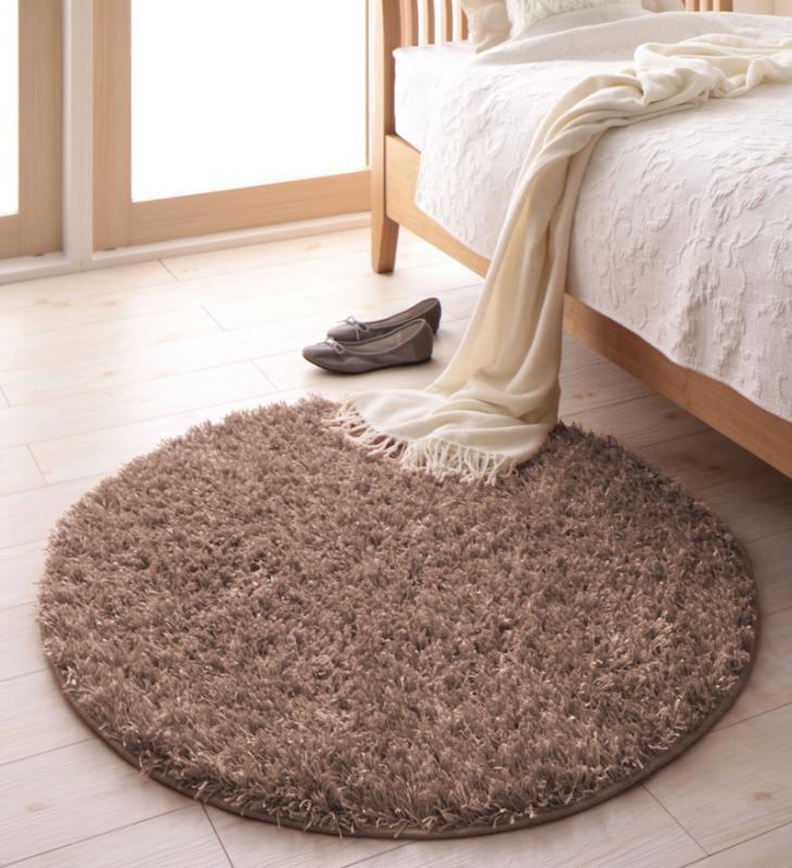 ラグ カーペット じゅうたん ラグマット 絨毯 安い ふわふわ 厚手 ふかふか もこもこ シャギーラグ マット 直径150 2畳 (円形 円 丸型 丸) アイボリー おしゃれ