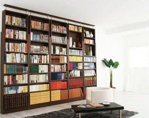 本棚 書棚 大容量 可動棚 壁面収納 耐震 つっぱり 式 ダーク ブラウン 茶色