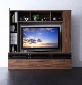 ハイタイプ テレビ台 ワイド 幅170 配線 大容量 ルーター デッキ DVD ゲーム 引き出し ブラウン 茶色 ウォールナット
