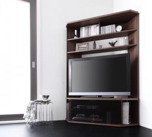 ハイタイプ コーナータイプ テレビ台 薄型 DVD ゲーム 大容量 配線 キャスターダーク ブラウン 茶色 ウォールナット
