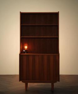 ほぼ 完成品 食器棚 キッチンストッカー カップボード ウォールナット ブラウン 天然木 北欧 アンティーク/シェルフ ブラウン 茶色