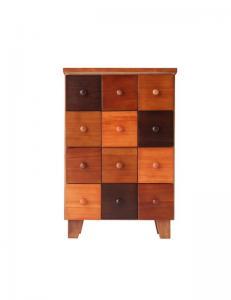 チェスト かわいい 可愛い キュート カントリー カラフル 天然木 北欧 幅43×高さ65 ブラウン 茶色 木目 カラフル