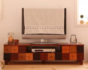 テレビ台 かわいい 可愛い キュート カントリー カラフル DVD ゲーム 天然木 北欧 幅120 ブラウン 茶色 木目 カラフル