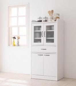 食器棚 キッチンストッカー カップボード コンパクト ミニ キッチン収納 ミドル食器棚 キッチンストッカー 幅60 ホワイト 白 グリーン 緑