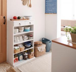 食器棚 キッチンストッカー カップボード 薄型 薄型キッチン収納 幅60 cm ホワイト 白 ミニ ミニタイプ