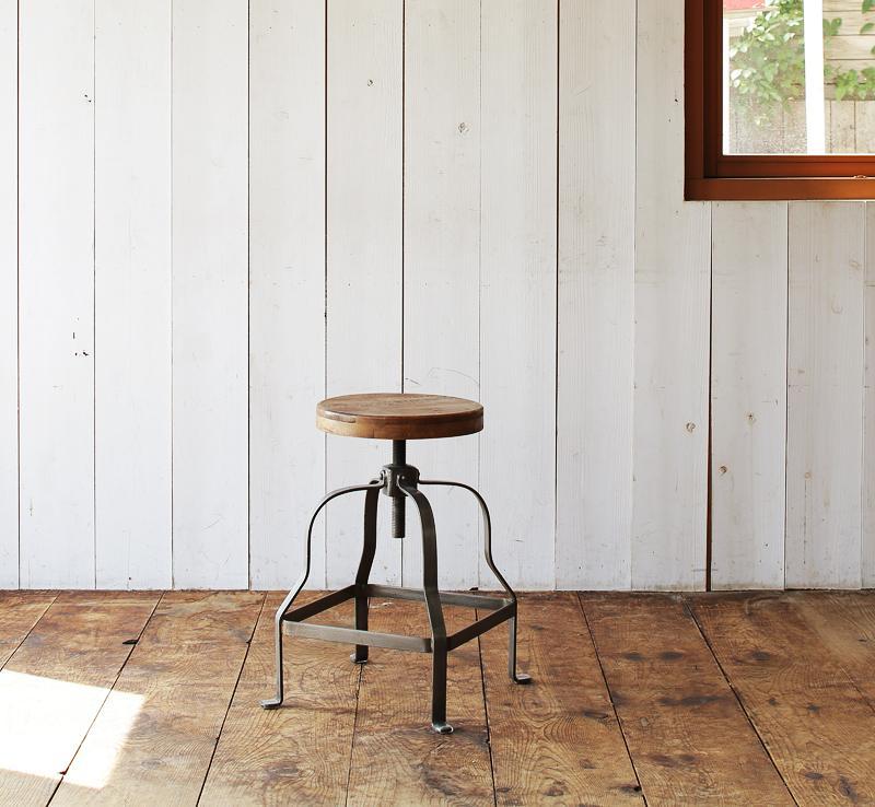 ダイニングチェア おしゃれ かっこいい カフェ 系 ヴィンテージ カントリー 調 ダイニング 回転昇降式スツール ウォールナット ブラウン 茶色