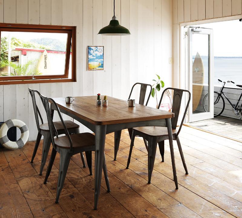 ダイニングセット 5点 4人用 おしゃれ かっこいい カフェ 系 ヴィンテージ カントリー 調 ダイニング 5点セットB(テーブル幅150+アイアン フレームチェア×4) ウォールナット ブラウン 茶色