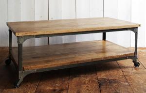 センターテーブル 棚付き おしゃれ かっこいい カフェ 系 ヴィンテージ カントリー 調 キャスター付き ローテーブル(幅110) ウォールナット ブラウン 茶色