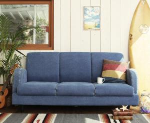 ソファー 3人掛け デニムソファ おしゃれ かっこいい カフェ 系 ヴィンテージ カントリー 調 ジーンズソファ 3P ブルー 青 水色