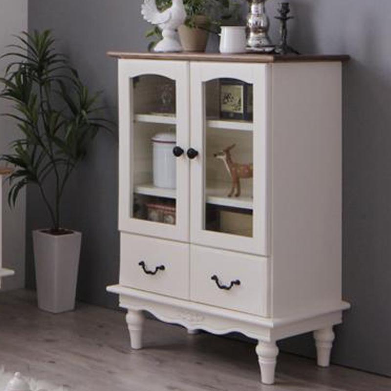 姫系 かわいい 可愛い アンティーク 食器棚 キッチンストッカー カップボード 電話台 本棚 ホワイト 白