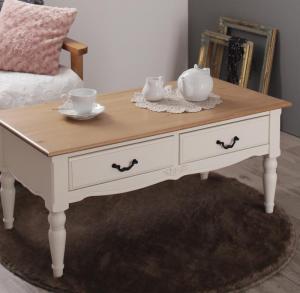 センターテーブル ローテーブル 姫系 かわいい 可愛い アンティーク 引き出し ホワイト 白