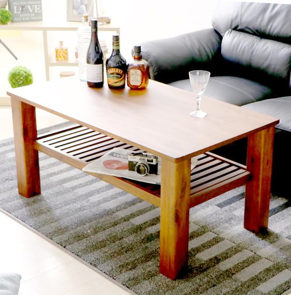 センターテーブル ローテーブル おしゃれ 北欧 木製 リビングテーブル コーヒーテーブル 応接テーブル デスク 机 ブラウン 幅105 奥行60 高さ50