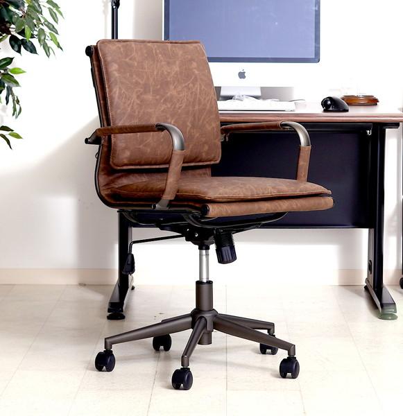 オフィスチェア 事務椅子 キャスター付き椅子 キャスター 椅子 パソコンチェア デスクチェア ブラウン