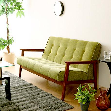 ソファー ソファ 2人掛け 二人掛け 2人用 二人用 おしゃれ 北欧 安い カフェ リビング アンティーク ダイニングベンチ 椅子 背もたれ 布 ファブリック 肘付き グリーン 緑
