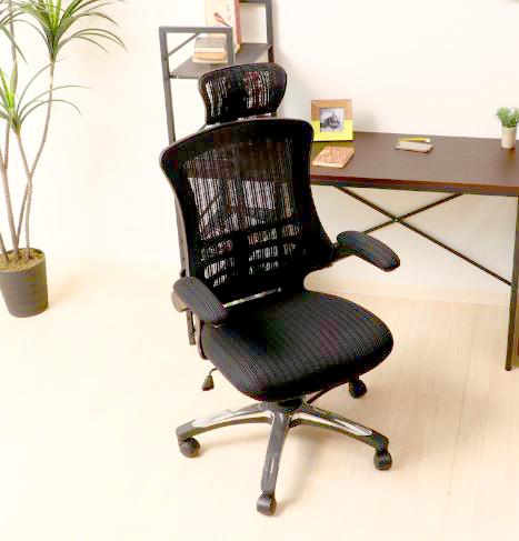 オフィスチェア 事務椅子 キャスター付き椅子 キャスター 椅子 チェア ハイバック ブラック 黒 デスクチェア 肘付き椅子 肘掛け椅子 肘置き 肘付 肘掛