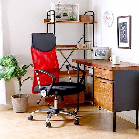 オフィスチェア 事務椅子 キャスター付き椅子 キャスター 椅子 チェア ハイバック メッシュ レッド 赤 デスクチェア 肘付き椅子 肘掛け椅子 肘置き 肘付 肘掛