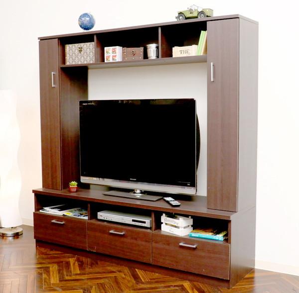 テレビ台 おしゃれ 安い 北欧 ローボード テレビボード 収納 ハイタイプ 高い 160 薄型 幅160 TVボード TV台 テレビラック ダークブラウン 茶色