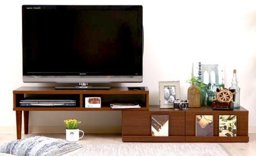 テレビ台 おしゃれ 安い 北欧 ローボード テレビボード 収納 200 ブラウン 茶色 脚付き コーナータイプ 伸縮 L字 幅200 TV台 テレビラック TVボード