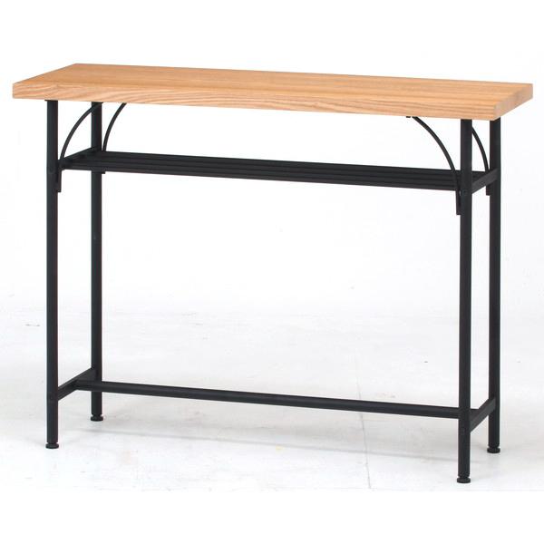 カウンターテーブル おしゃれ 北欧 キッチン カフェ スリム バーテーブル ハイテーブル アンティーク 西海岸 ナチュラル×ブラック 幅110 奥行40 高さ85