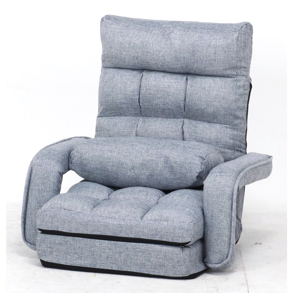 座椅子 座イス 座いす リクライニングチェア 低い 椅子 ソファー 一人暮らし コンパクト ロー こたつ ローソファー ローソファ おしゃれ 1人掛け 一人掛け 厚手 フロアチェア グレー 幅70 奥行58 座面高11
