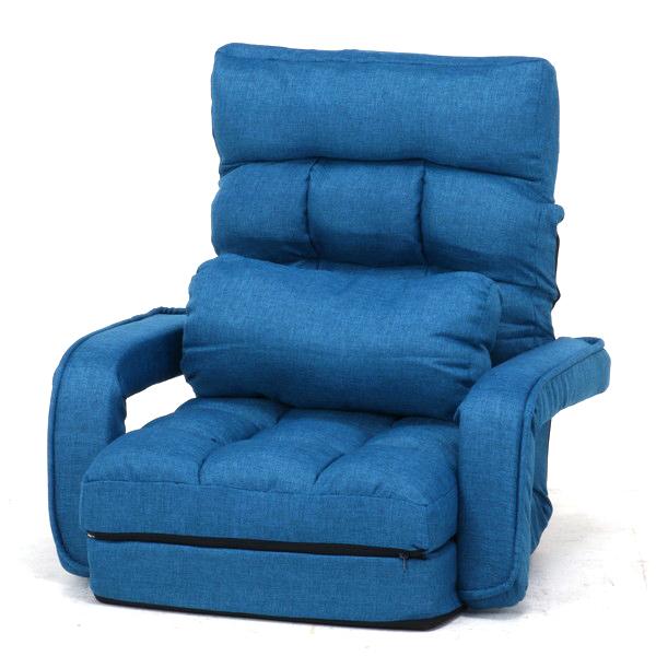 座椅子 座イス 座いす リクライニングチェア 低い 椅子 ソファー 一人暮らし コンパクト ロー こたつ ローソファー ローソファ おしゃれ 1人掛け 一人掛け 厚手 フロアチェア ブルー 幅70 奥行58 座面高11