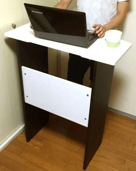 スタンディングデスク スタンディングテーブル ハイデスク ハイタイプ 立ち机 立机 高さ100 ホワイト 白 ブラック 黒 モノトーン 幅80 棚 収納 パソコン パソコンデスク スタンディング デスク オフィスデスク 仕事机 立ち仕事