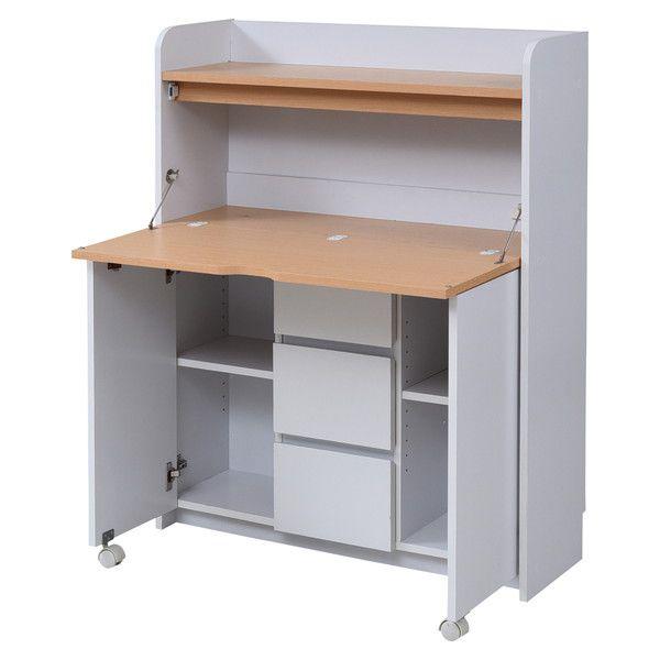 パソコンデスク 机 デスク PCデスク おしゃれ 安い 北欧 シンプル オフィス コンパクト スリム 収納 折りたたみ 折り畳み 本棚 ラック 棚付き 白 ホワイト 引き出し 木製 オフィスデスク パソコンラック ワークデスク 事務机 約 幅90